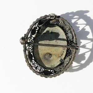 Vintage Jewelry - Vintage 800 Silver Hand Painted Portrait Brooch